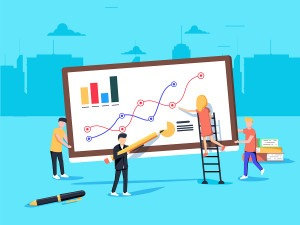 Virtual assistants constructing social media strategy with graphs and charts illustration